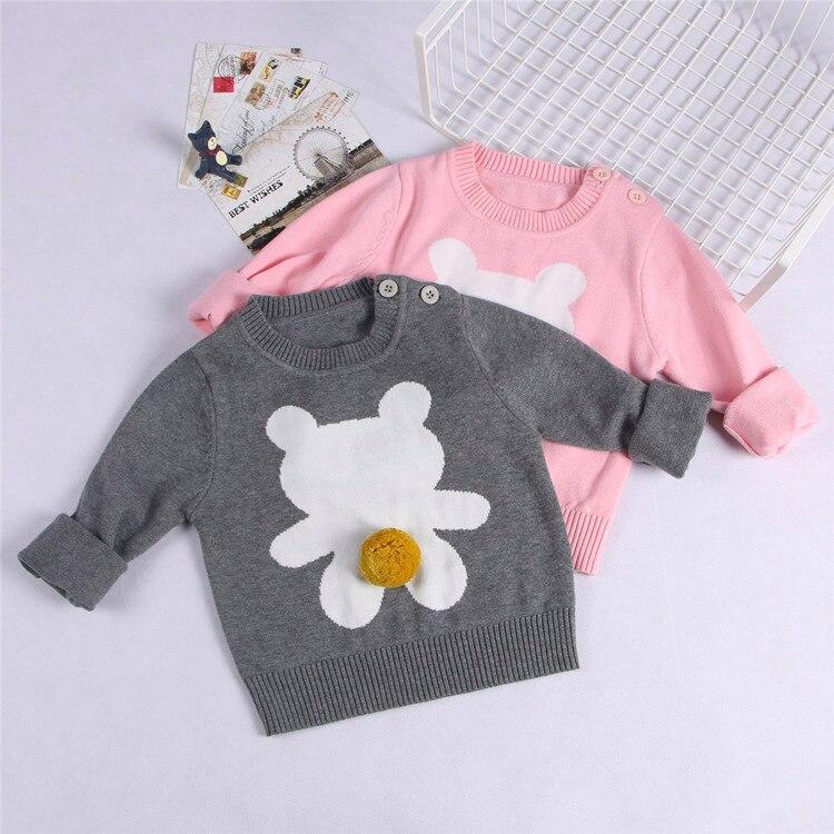 2017 Autumn Winter Girls Boys Sweater Outfits Kids Knitted Casual Outwear Cartoon bear Clothes Boy Long