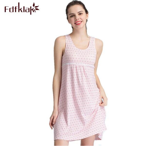 2017 New Cotton Nightgown Women Lounge Print Nightdress Sleepwear Casual Nightwear Elegant Nightgowns Sleepshirts Shrit Q287