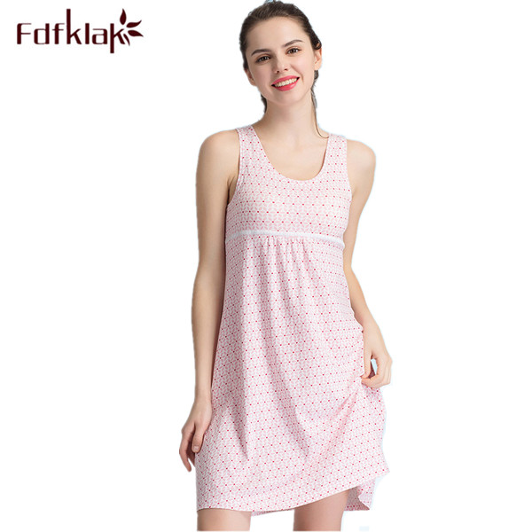 2017 New Cotton   Nightgown   Women Lounge Print Nightdress Sleepwear Casual Nightwear Elegant   Nightgowns     Sleepshirts   Shrit Q287