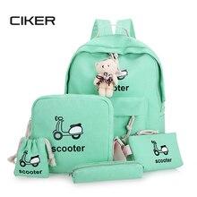 Ciker женская рюкзак для девочек-подростков моды характер женщины холст рюкзак mochila рюкзак плеча школьные сумки 5 bags/set