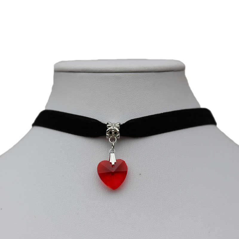 1 szt. Love Heart szklany wisiorek kobieta dziewczyna biżuteria modne naszyjniki gotycki naszyjnik Terylene Choker siedem kolorów