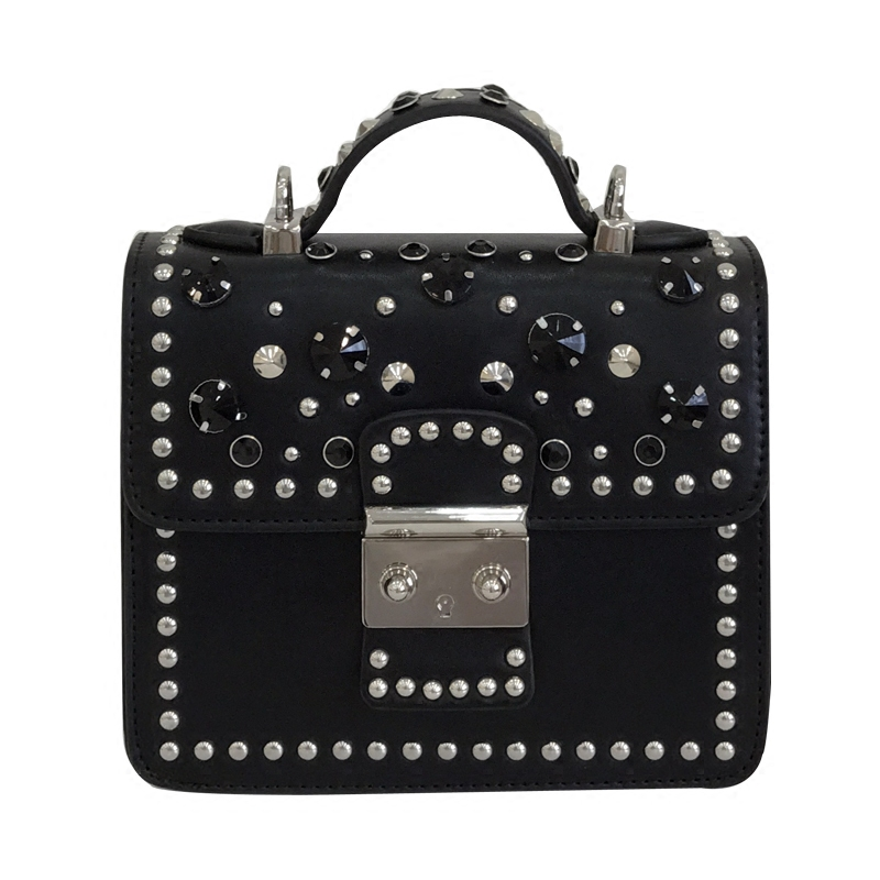 Rivet bag female 2018 new wave Korean version of the wild Messenger bag female fashion atmosphere small party shoulder bag 2018 new female korean version of the bag with a small square package side buckle shoulder messenger bag packet tide