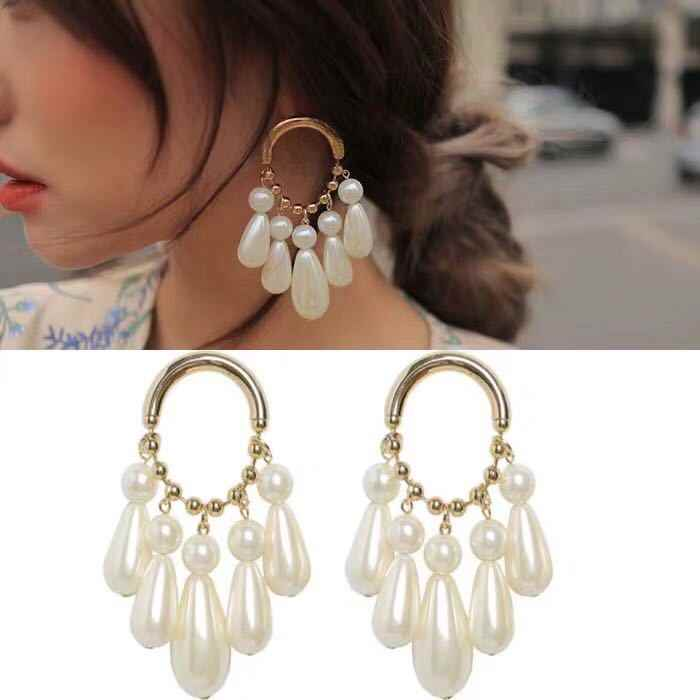 Ethnic Women Dangle Earrings Fashion Exaggeration Oval Water Drops Pearl Earrings Big Earrings For Women Drops Earrings