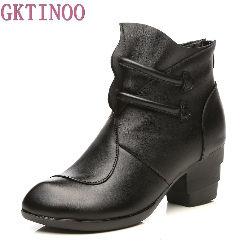 GKTINOO Winter Fashion Martin Boots Genuine Leather Ankle Shoes Vintage Casual Shoes Retro Handmade Women's Boots Lady serene handmade winter warm socks boots fashion british style leather retro tooling ankle men shoes size38 44 snow male footwear