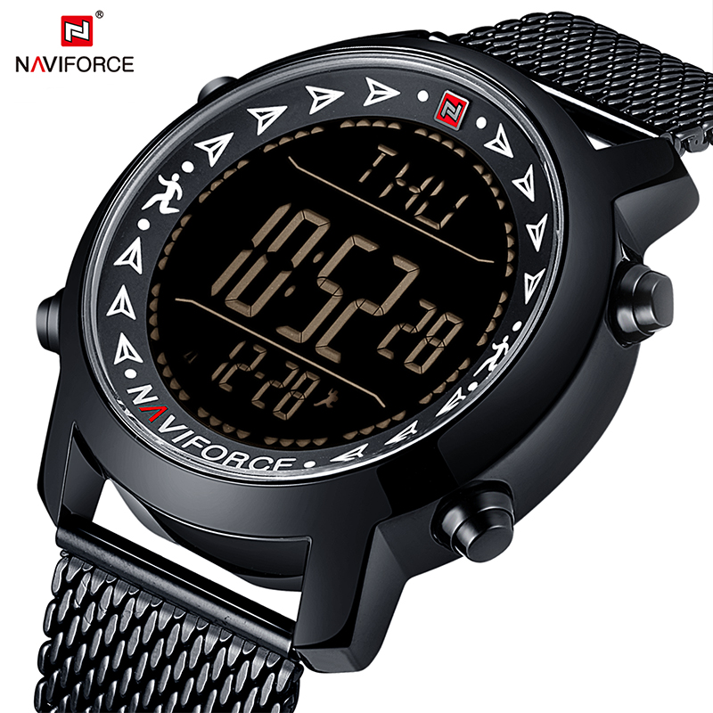 NAVIFORCE New Men Top Brand Full Steel Sport Watches Men's Quartz LED Digital Clock Man Military Wrist Watch Relogio Masculino naviforce men s military sports watches men led digital watch waterproof full steel quartz watches man clock relogio masculino