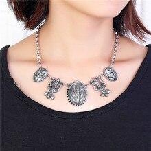 Vintage Plating Tibetan Silver Cactus shape large statement Necklaces & Pendants Bohemia Western desert style maxi necklace