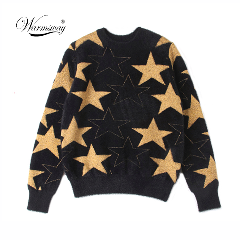 Warm Cashmere Short Pullovers Five-pointed Star Cool Girls Long Sleeve Jumper Streetwear Knitwear Pull Femme Female Tricot C-029
