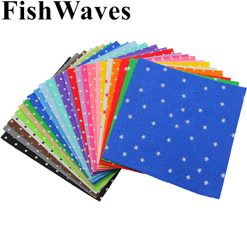 24pcs 15x15cm Non Woven Polka Dot Printed 1mm Felt Fabric Cloth Polyester Cloth Material For Sewing DIY Handmade Crafts Dolls