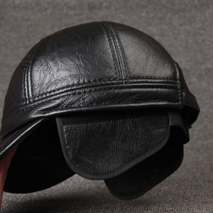 Image 5 - SILOQIN Adjustable Size Mens 100% Genuine Leather Cap Winter Warm Baseball Caps With Earmuffs Cowhide Leather Brand Hat for Men