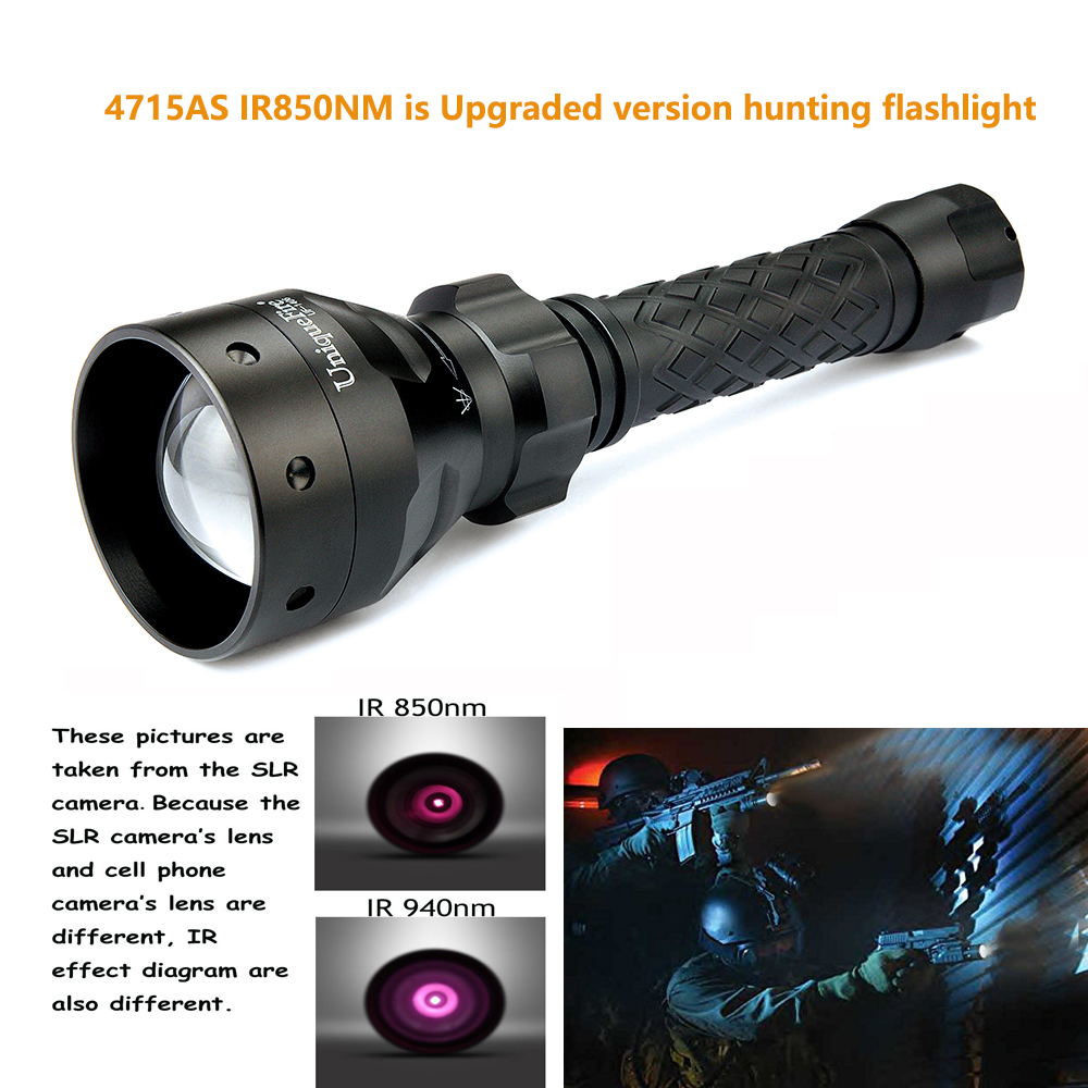 Uniquefire 3 Mode 1406-4715AS IR850NM Upgraded Night Vision Flashlight To Hunting,Zoom 50mm Convex Lens, Night Vision Lamp Torch uniquefire 1406 ir 850nm led 3 modes flashlight to hunt flashlight torch light 50mm convex lens night vision torch free shipping