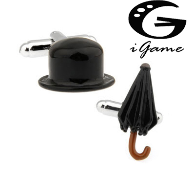 Free Shipping New Arrival Fashion Cufflinks For Men Black Painting Chaplin Hat&Umbrella Design Men Cuff Links Wholesale&retail