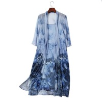 1 Pic 100 Natural Silk Ladies Vintage Style Flower Print Dress Women Mid Calf Length Three