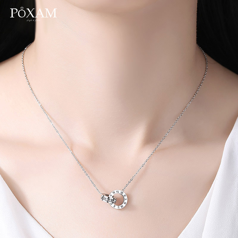 POXAM Luxury Elegant Crystal Choker Fashion Roman Digital Stainless Steel Gold Silver Color Pendant Necklaces for Women Jewelry 6