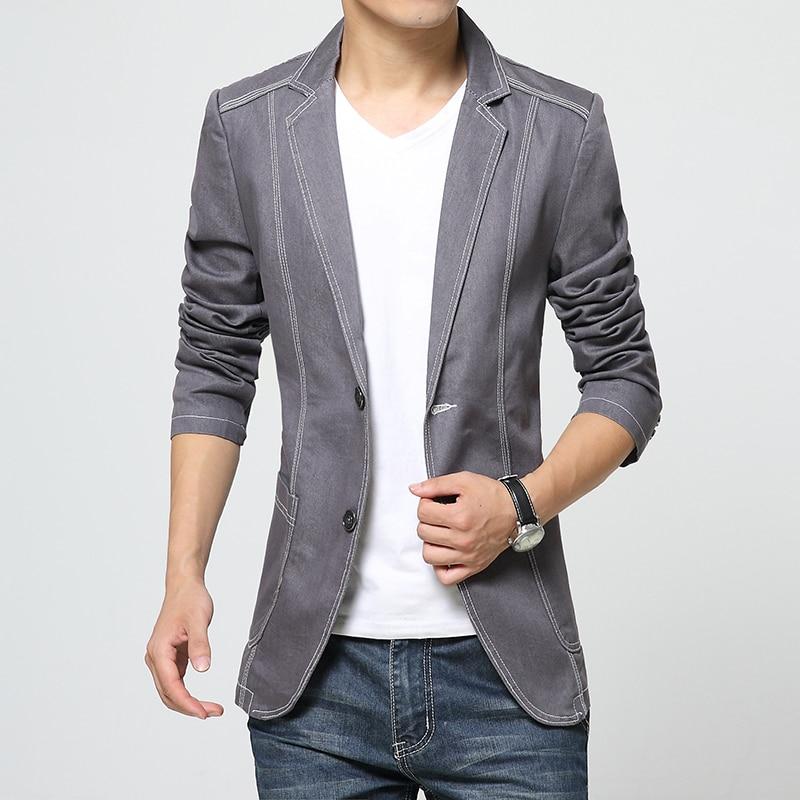 2017 Spring Denim jeans blazer men Coat jacket Casual Slim Suits ...