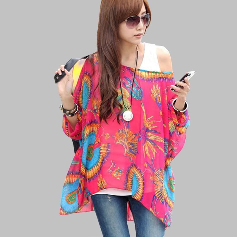 5ec9bfc722631 Summer Tops Women New Fashion 2018 Vintage Bohemian Clothing Batwing Sleeve  Chiffon Blouse Shirt Plus Size 6XL For Big Women-in Blouses   Shirts from  ...