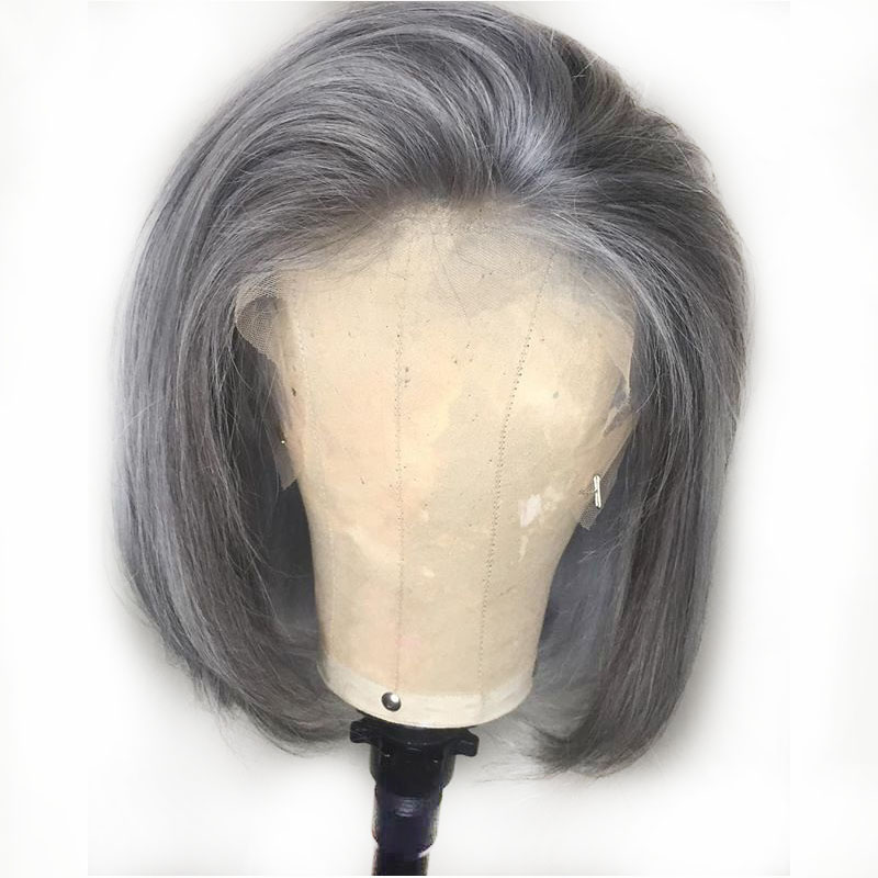Grey Colored Human Hair Wigs Short Bob Lace Front Blunt Cut Wigs 13X6 Side Part Brazilian