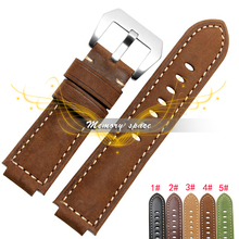 Free shipping Genuine Leather bracelet watch band 24*16mm Watchband with Steel Clasp watch strap for Tide