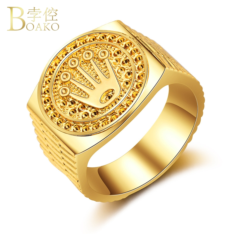 BOAKO Rapper Men Ring Wide Hip Hop Ring Statement Gold Engraved Ring Luxury Iced out crown anillos hombre party jewelry Z5