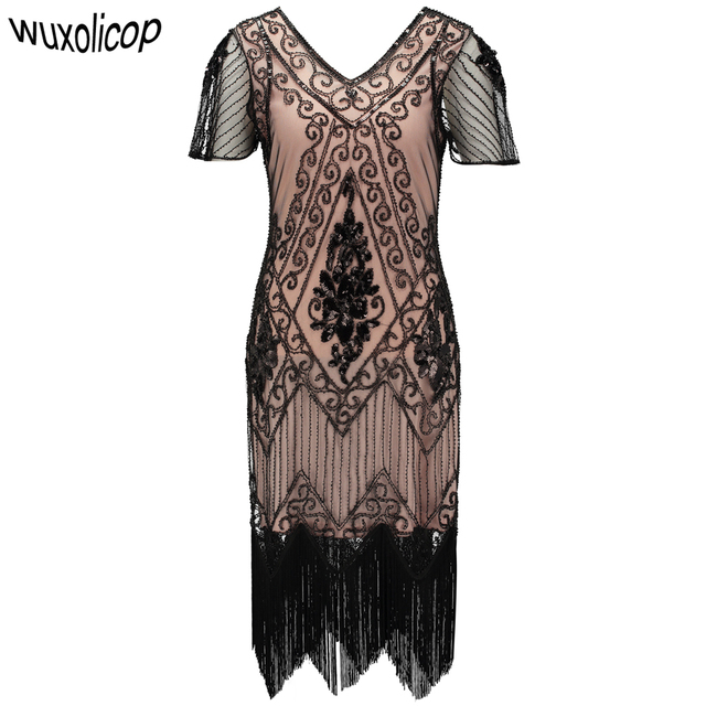 Embellished Beaded Sequin Dress Robe Vestidos Women 1920s Flapper Dress  Vintage V Neck Butterfly Sleeve Long Great Gatsby Dress 8cdc69ab19b8