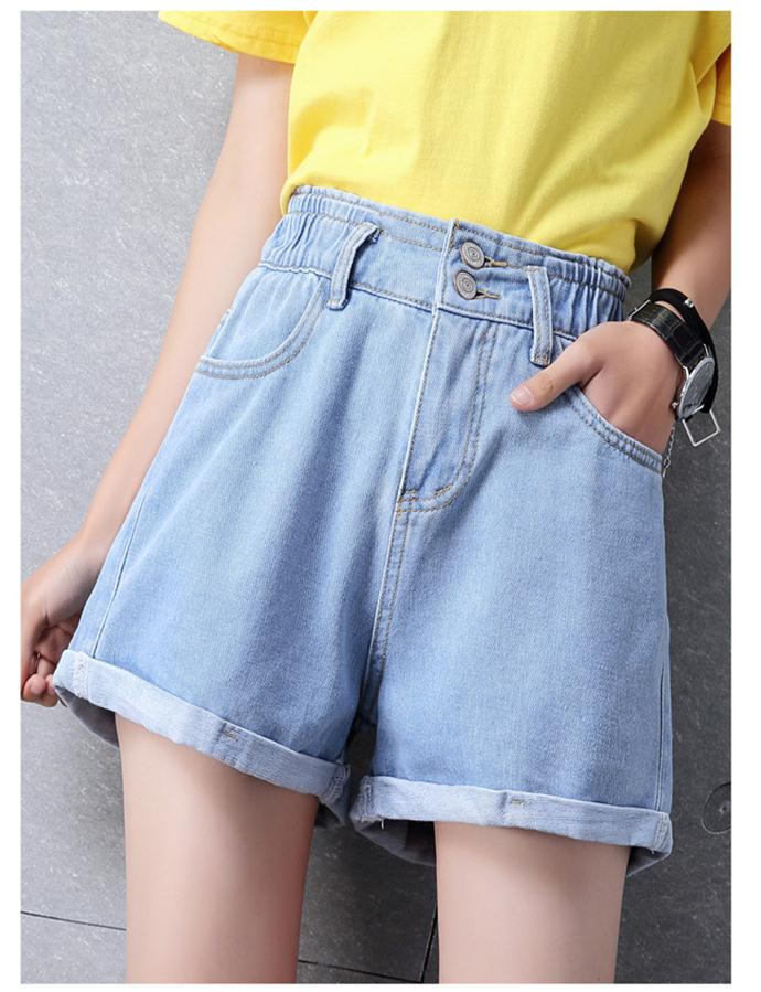 2019 Summer Stretch Female High Waist Knee Length Jeans Mom Fashion Ripped Shorts For Women Denim Shorts Jeans Plus Size Women