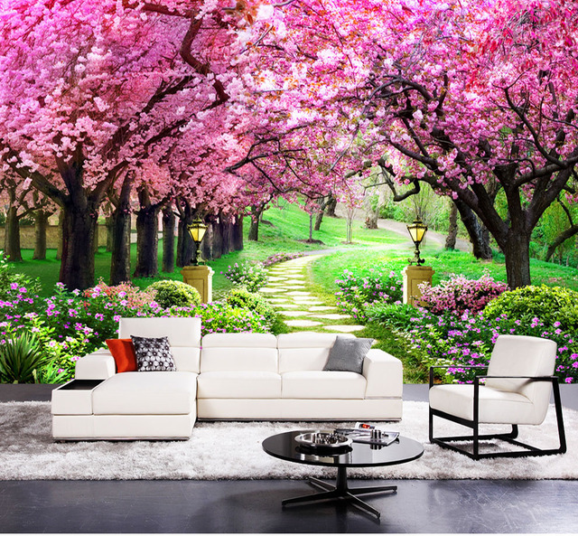 Purple Sakura Flower Forest Road Park 3d Murals Wallpaper For Living