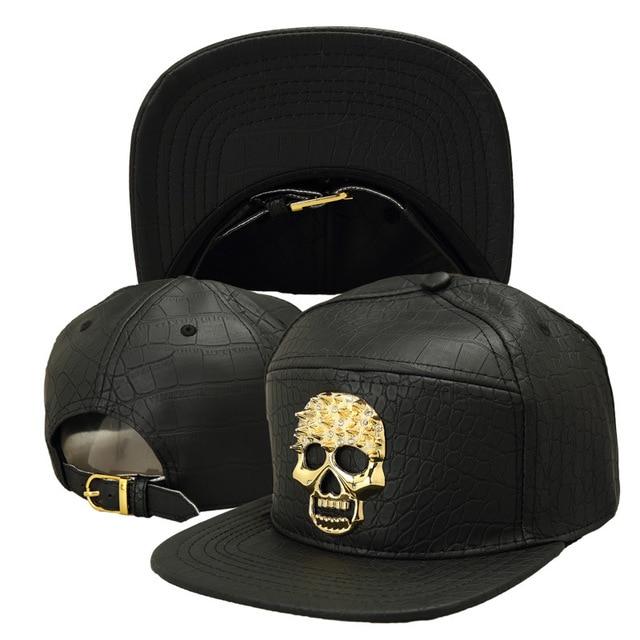 Adult Unisex Crocodile PU Baseball Hat Golden Skull Logo Men Hip Hop Street  Snapback Cap Brand 8cb32142cbdd