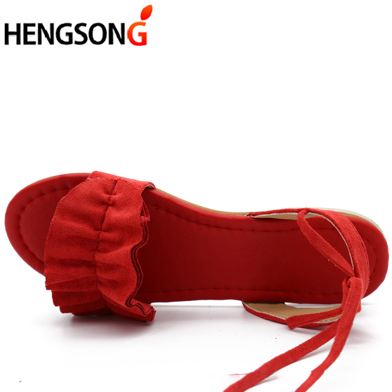Plus Size Women s Sandal Ruffles Shoes Woman Cross Bandage Sandals Summer Shoes Flats Lace up Plus Size Women's Sandal Ruffles Shoes Woman Cross Bandage Sandals Summer Shoes Flats Lace-up Ankle Strap Sandalias Mujer 2018