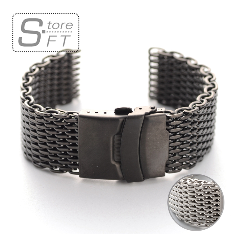 Stainless Steel Mesh Watch Bracelet Watchband High Quality 316 Stainless Steel 20mm 22mm 24mm Silver&Black hq stainless steel watchband 20mm 22mm