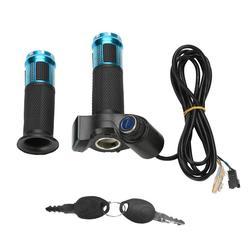 4 cores torção do acelerador aperto guiador com display led tela lidar com chave knock para bicicleta elétrica indicador/bloqueio