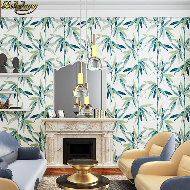beibehang Southeast Asian style Nordic wallpaper bedroom living room background wall simple American wallpaper bamboo leaves  free shipping southeast asian style elephant mural background wall thickened wear high quality living room bedroom wallpaper
