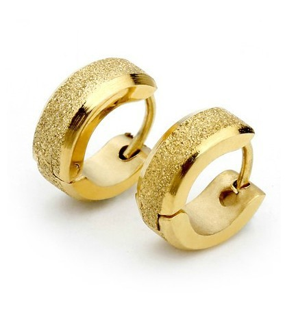 Artilady Golden Dull Polish Earring Men Jewelry Fashion Man Round Earrings Boys Gifts
