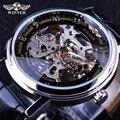 Vencedor Classsic Projeto A Céu Aberto Transparente Série Business Casual Masculino Mens Relógios Top Marca de Luxo Relógio Esqueleto Mecânico