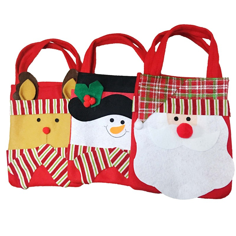Christmas Gift Bags Santa Claus Snowman Elk Candy Gift Bag Striped Hand Bag XMAS Decor Holiday New Year's Home Party Supplies