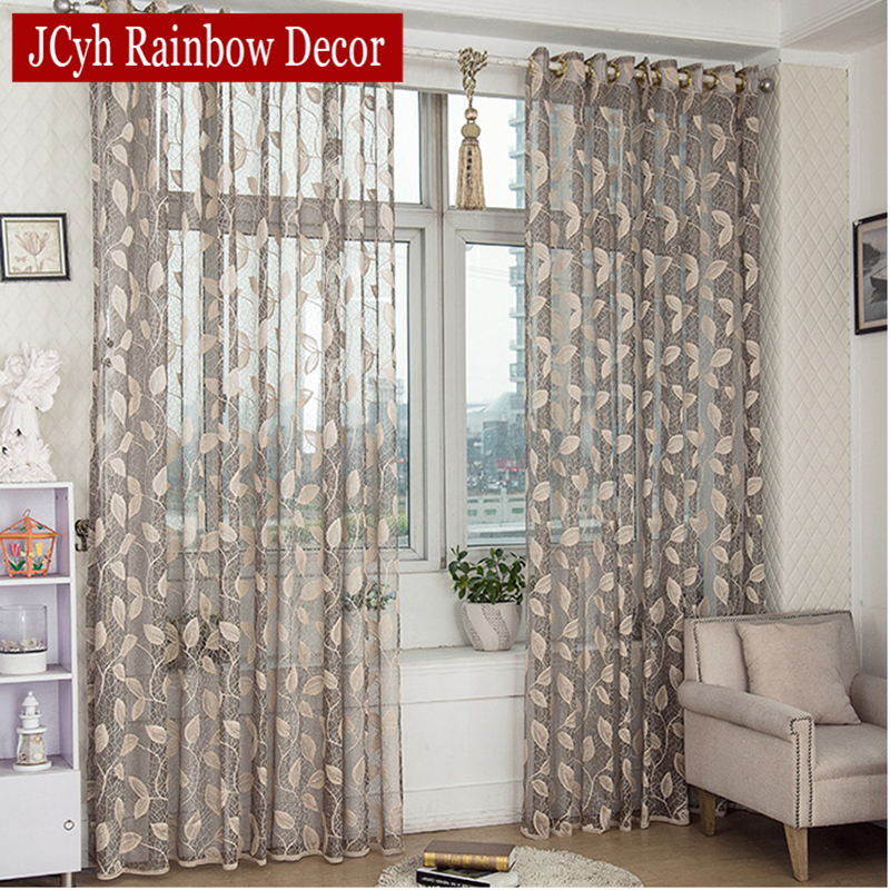 Kitchen Entrance Curtain: Pastoral Leaves Sheer Tulle Curtains For Living Room