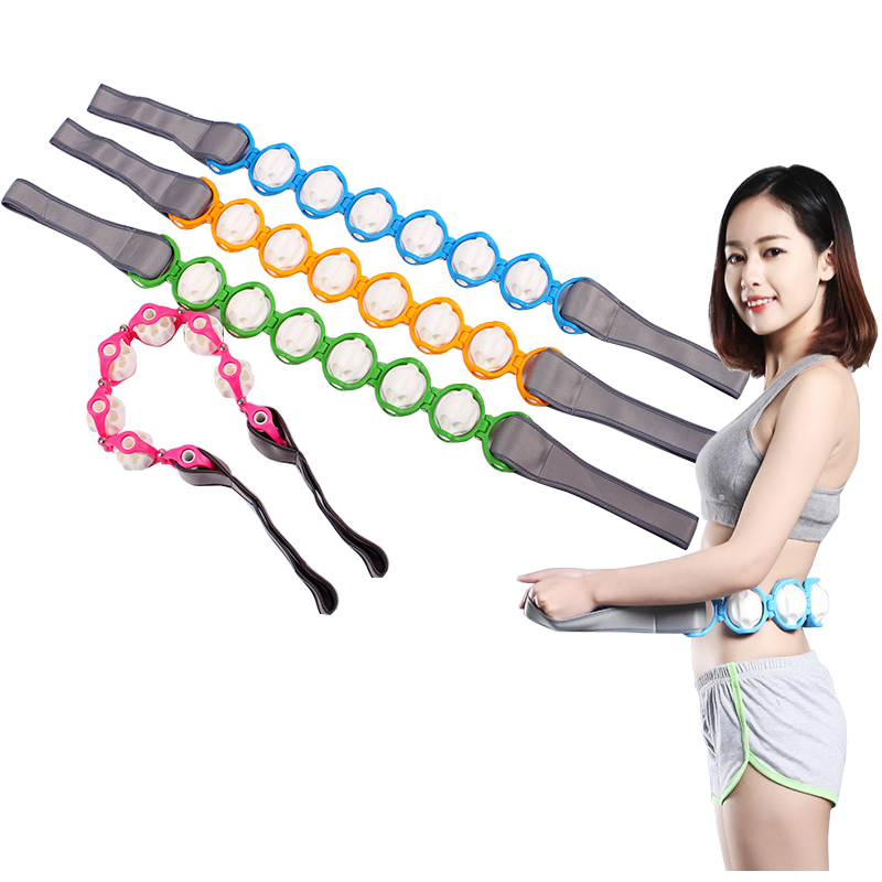 New neck waist back roller massager shoulder back massage equipment shoulder massager blue scoop neck cold shoulder tie up at back tee