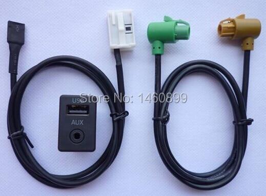 imágenes para La Modificación del coche, USB Interruptor AUX Entrada de Audio Socket Adaptador para VW Volkswagen POLO TOURAN Golf 6 Tiguan RCD510/310 +/300 + RNS315