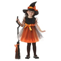 2017 Girl Witch Dress + Hat Cap Princess Party Dresses Tutu Baby Kids Children Clothing Carnival Halloween Cosplay Costume