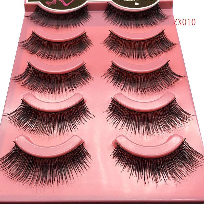 5Pairs/Set Handmade Charming Soft Makeup Beauty Thick Black Long False Eyelashes Natural ...