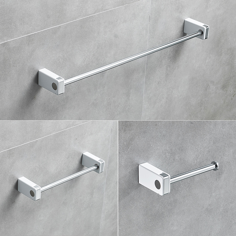 Flg 3 Pcs Set Stainless Steel Bathroom Hardware With White Abs Bath Single Towel Bar Paper Holder Accessories In Sets From Home