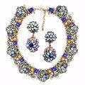 2017 z diseño de moda de lujo exquisito cristal flores joyería declaración choker collar chunky collares vintage clásico
