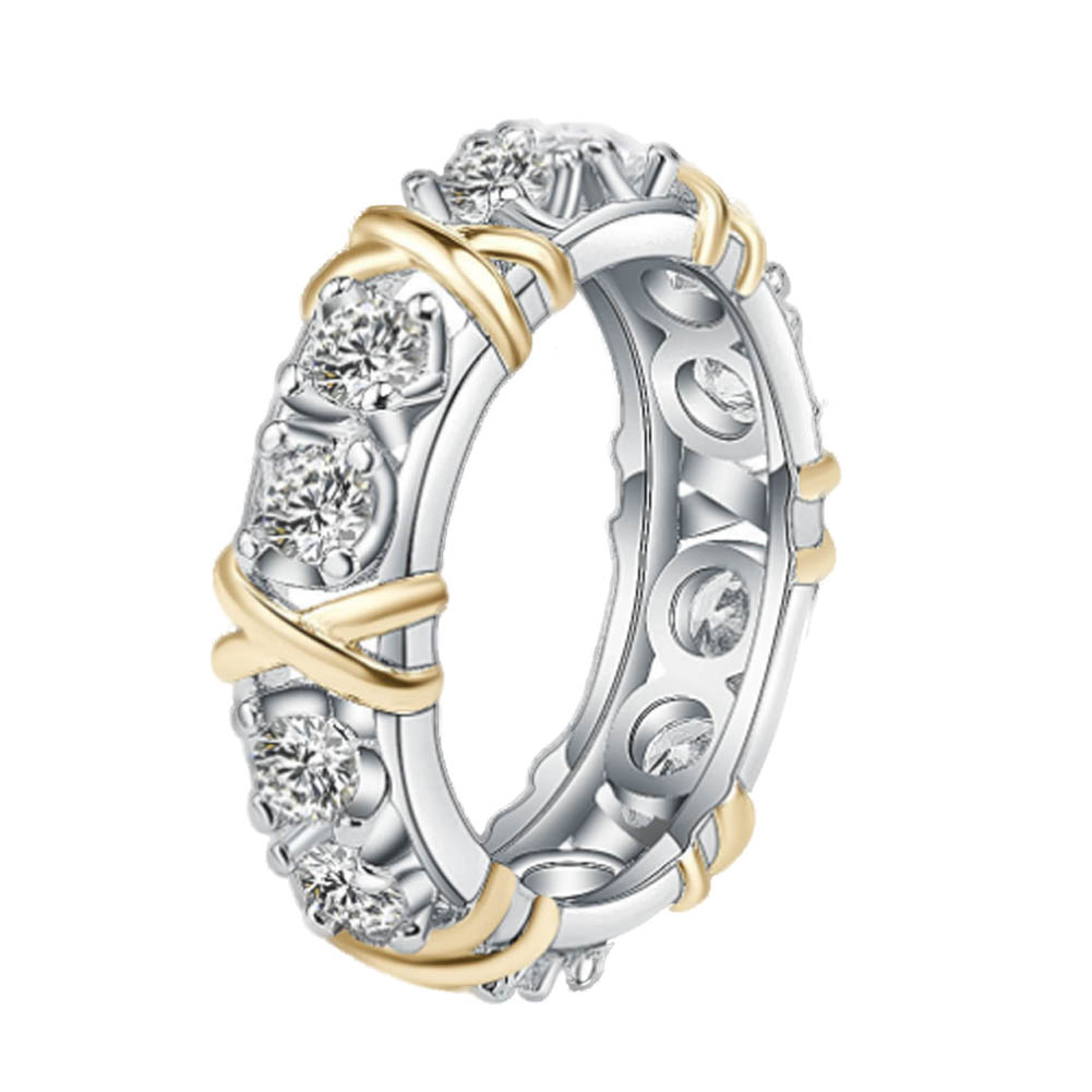 X style Love Round Cut Synthetic Diamonds Female Ring Solid Silver color Gold Color Wedding Jewelry