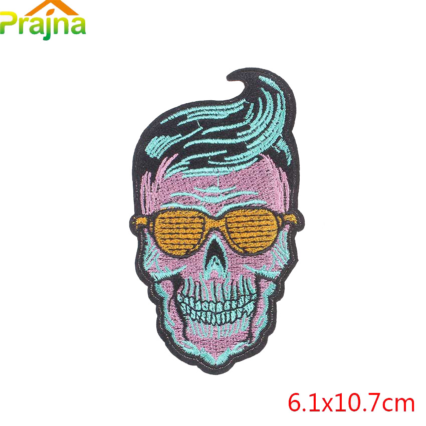 Prajna Yin Yang Bitch Mexican Skull Patch Iron On Punk Rock Cheap Embroidered Biker Patches For Clothes Stickers Applique Badge