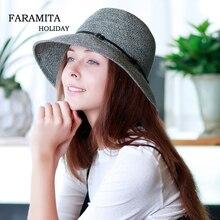 Faramita vacaciones de verano sombreros de Sol para las mujeres plegable de  paja Sunbonnet de señoras PAC Brim Floppy sombrero d. 33d2e8fab9b