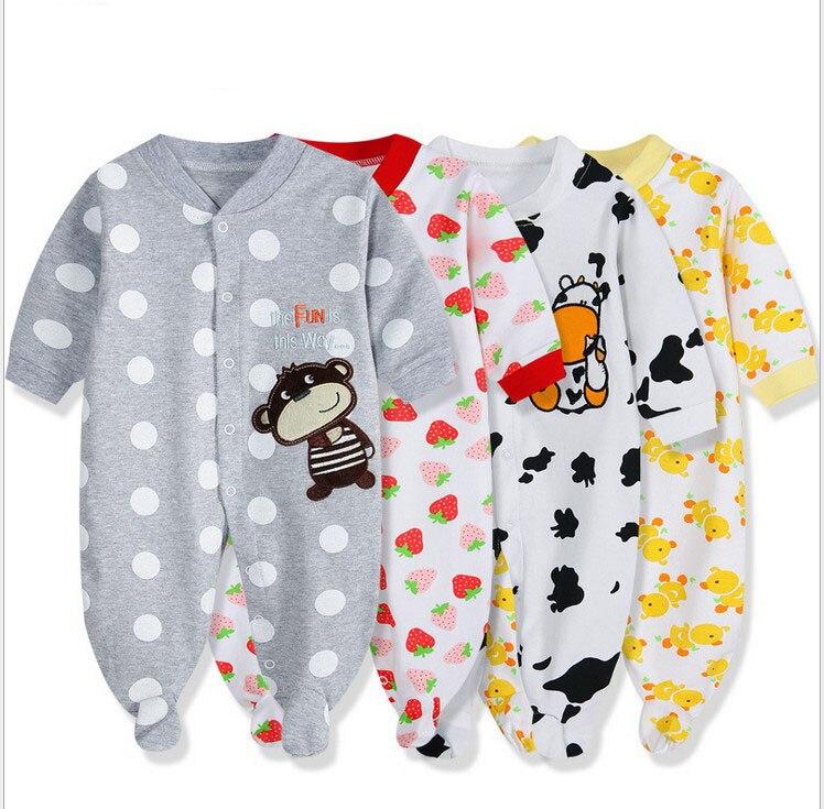 Bahar yaz bebek giyim karikatür bebek kız tulum % 100% pamuk erkek bebek giysileri tulum, yenidoğan tulum giymek 0-1years