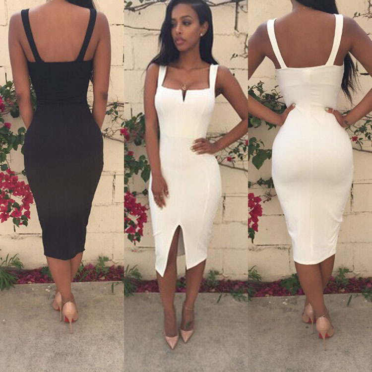 Summer Style Women Sexy White Bodycon Solid Strap Split Front Sheath ...