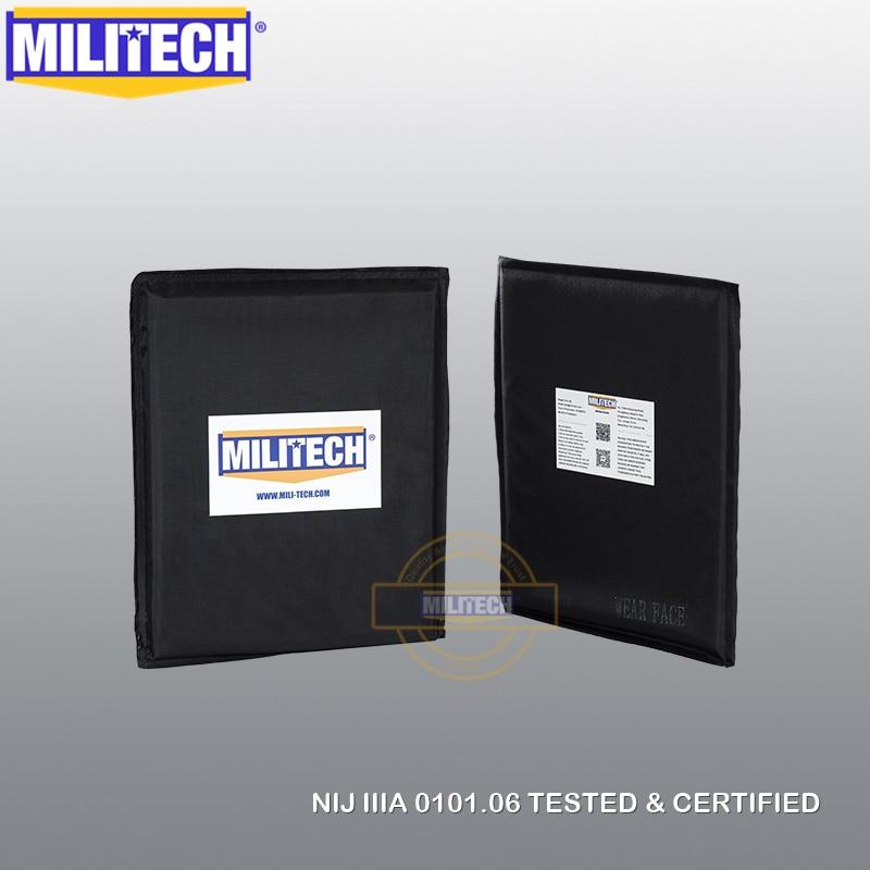 MILITECH 8'' X 10'' NIJ IIIA 0101.06 & NIJ 0101.07 HG2 Pair Set Aramid Soft Ballistic Panel BulletProof Plate Inserts Body Armor