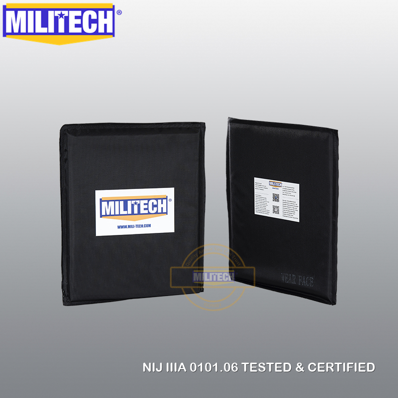 MILITECH 8'' X 10'' Pair Set Aramid Soft Armour Ballistic Panel Bullet Proof Plate Inserts Body Armor NIJ Level IIIA 3A