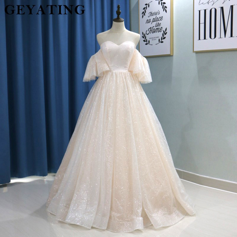 2019 Bling Blush Ball Gown Wedding Dress Half Sleeves Off Shoulder Sweetheart Floor Length Lace-up Saudi Arabia Bride Dresses
