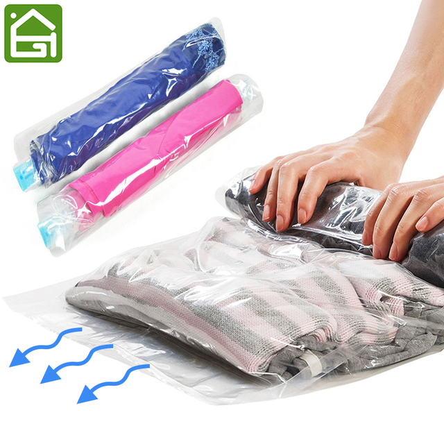 1 Pc Clothes Compression Storage Bags Hand Rolling Clothing Plastic Vacuum Packing Sacks Travel Space Saver