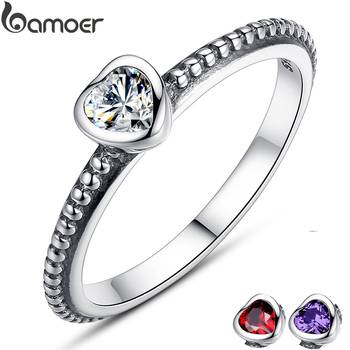 BAMOER 3 Colors Authentic 100% 925 Sterling Silver Ring Love Heart Ring Original Wedding Jewelry  Gift For Mother PA7107